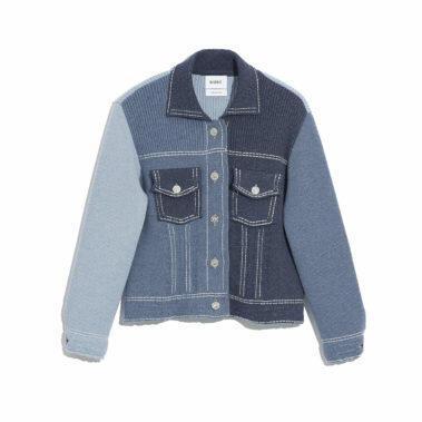 Ladies Patchwork Fitted Denim Jacket