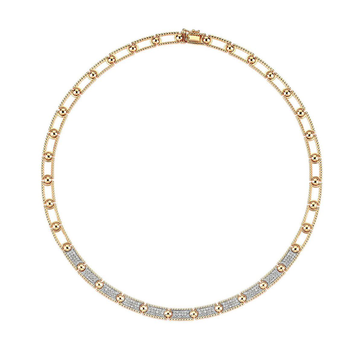 Collier court perles et pavé de diamants