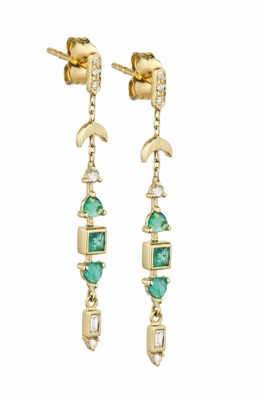 Emerald and Diamonds Totem Earrings