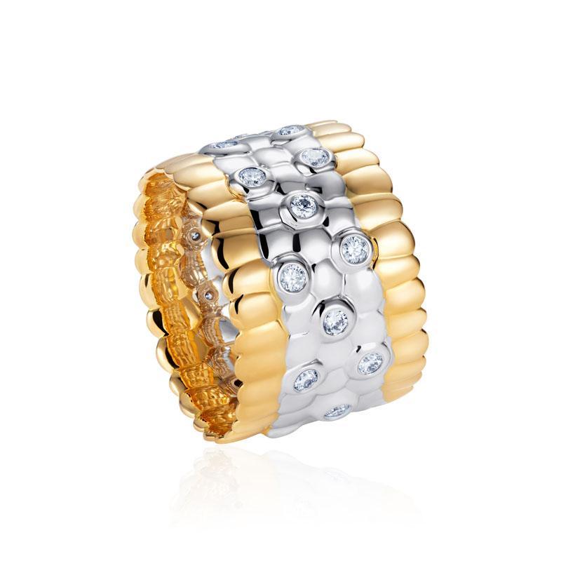 Skin on Skin Diamond Ring in 18K Yellow & White Gold