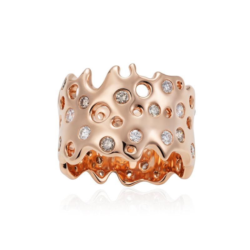 Dream Me Star Ring White & Brown Diamond Ring in 18K Rose Gold