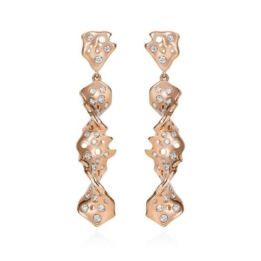 Twisted Star Diamond Earrings in 18K Rose Gold