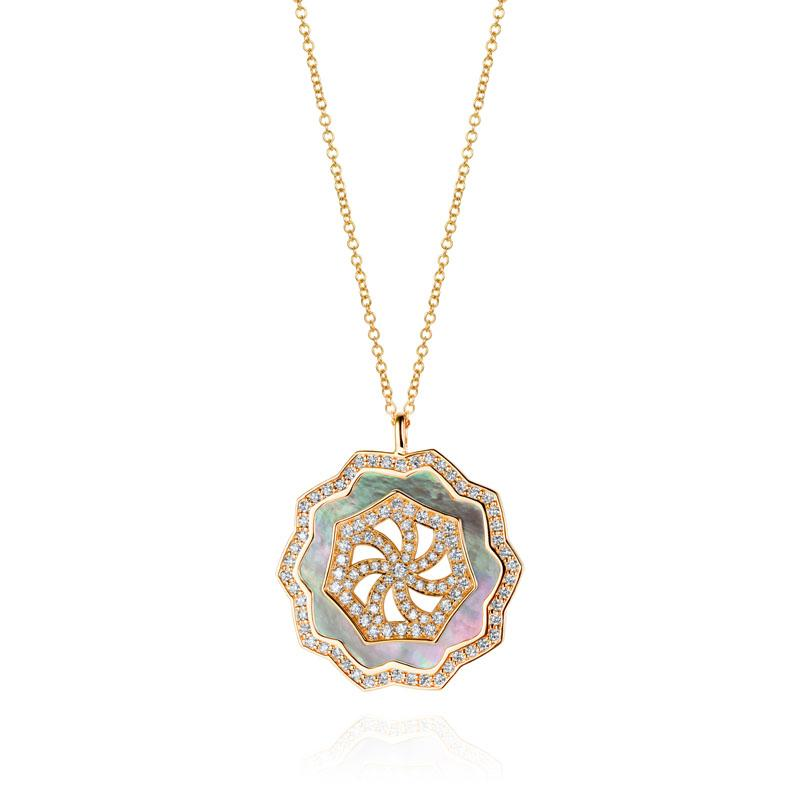 Sunset Diamond & Black Mother of Pearl Pendant in 18K Yellow Gold