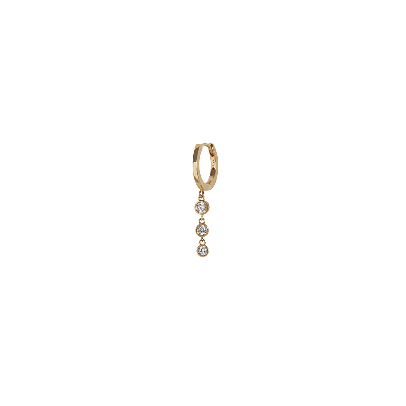 Gold creole earring with 3 falling diamonds