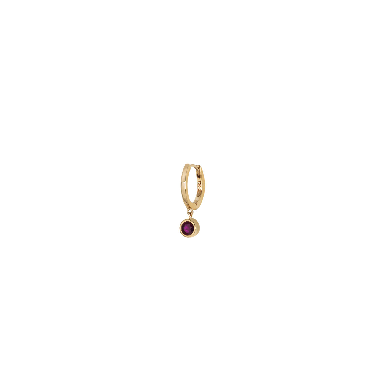 Gold hoop with ruby