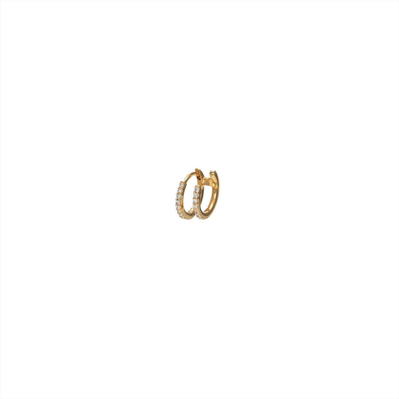 Double hoop diamond earring