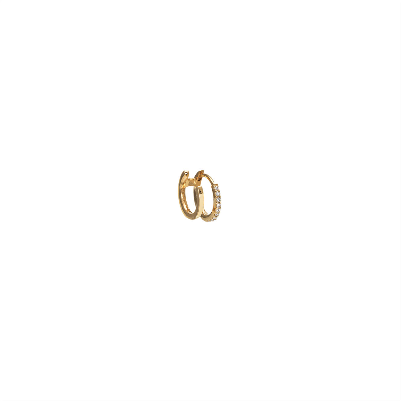 Double hoop diamond and gold earring